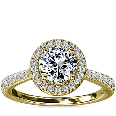 NEW Diamond Bridge Halo Diamond Engagement Ring in 14k Yellow Gold (1/3 ct. tw.)