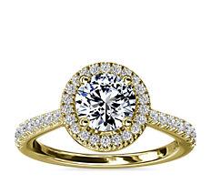 新款 14k 金钻石桥光环钻石订婚戒指<br>(1/3 克拉总重量)