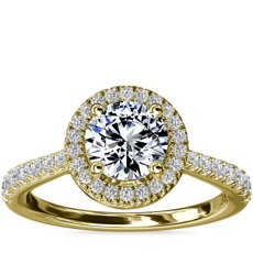 Diamond Bridge Halo Diamond Engagement Ring in 14k Yellow Gold (1/3 ct. tw.)