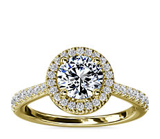 Diamond Bridge Halo Diamond Engagement Ring in 14k Yellow Gold (1/3 ct. tw.)