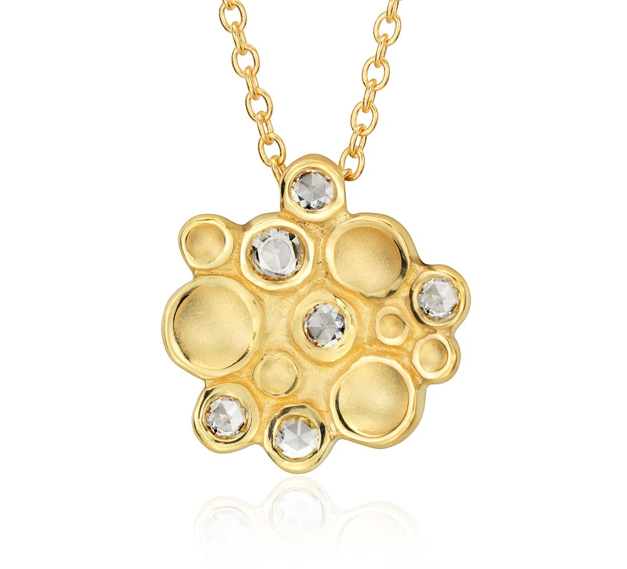 Colgante con racimo de diamantes en forma de burbuja de Anne Sportun en oro amarillo de 18k (1/4 qt. total)