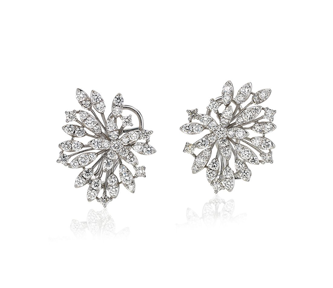 Puces d'oreilles explosion de diamants en or blanc 14 carats (2 1/10 ct. pt.)