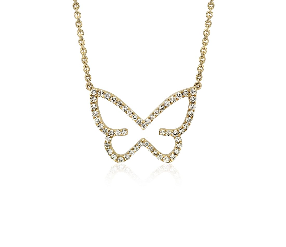 Diamond Butterfly Necklace in 18k Yellow Gold