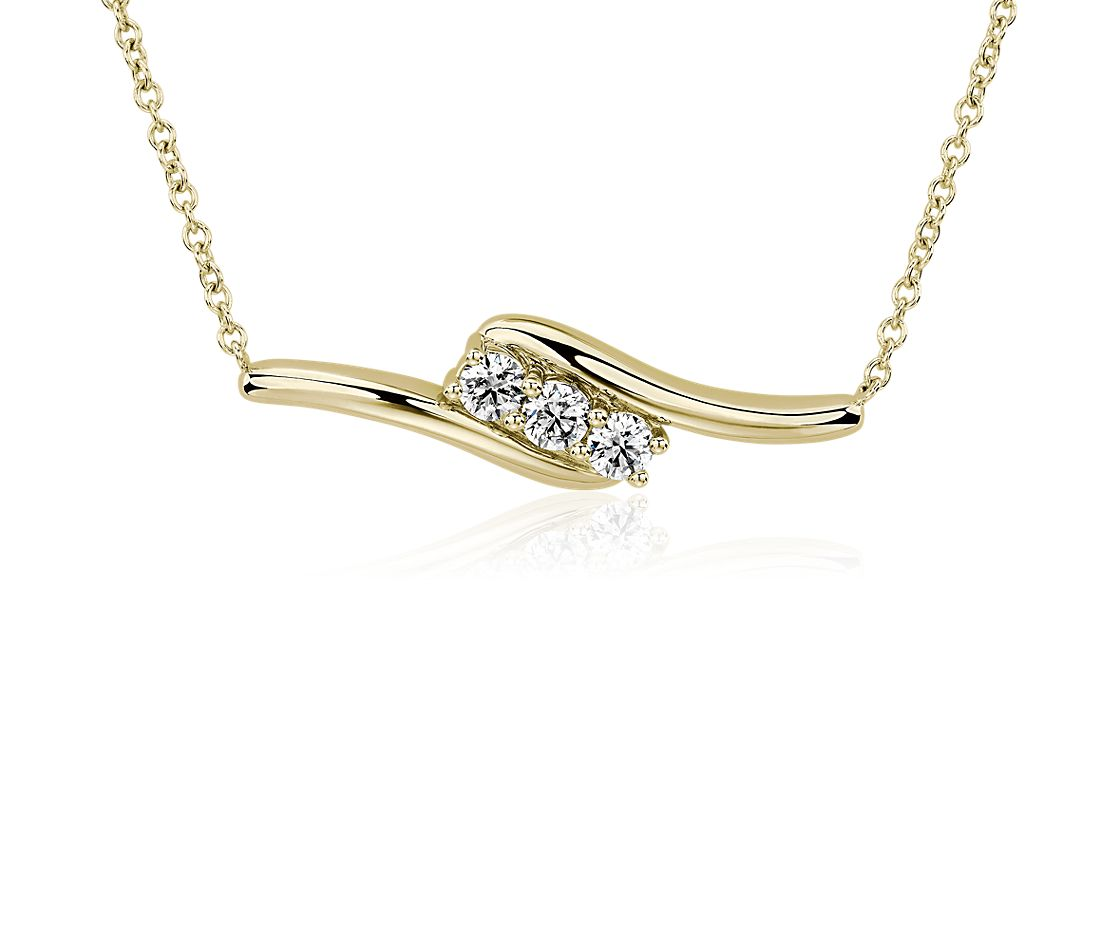Diamond Bypass Necklace in 14k Yellow Gold (1/2 ct. tw)