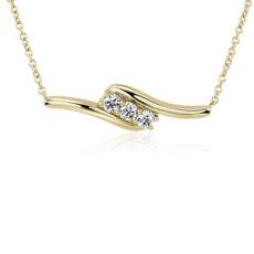 新款 14k 金钻石迂回项链(1/2 克拉总重量)