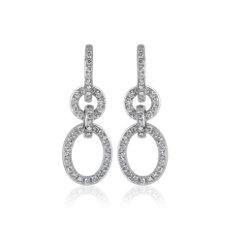 NEW Diamond Chain Oval Link Drop Earrings in 14k White Gold (3/4 ct. tw.)