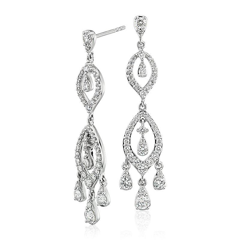Diamond Chandelier Drop Earrings in 14k White Gold (1.39 ct. tw.)