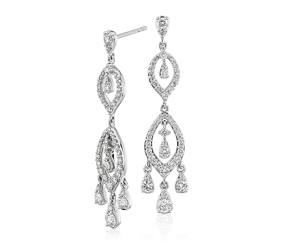 Diamond Chandelier Drop Earrings in 14k White Gold (1 3/8 ct. tw.)