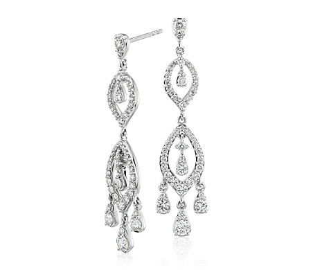 Diamond chandelier drop earrings in 14k white gold 139 ct tw diamond chandelier drop earrings in 14k white gold 139 ct tw aloadofball Images