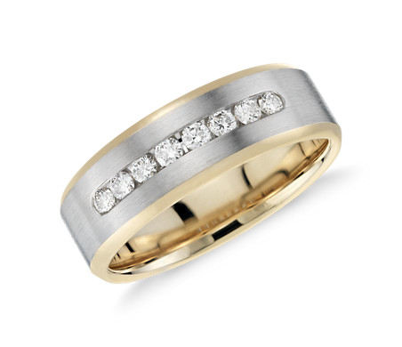 Diamond Channel Set Wedding Ring In 14k White Gold And Yellow Gold (1/
