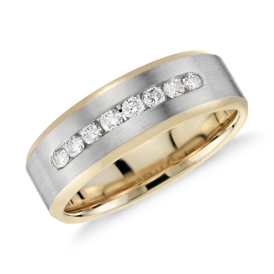 Diamond Channel Set Wedding Ring in 14k White Gold and Yellow Gold