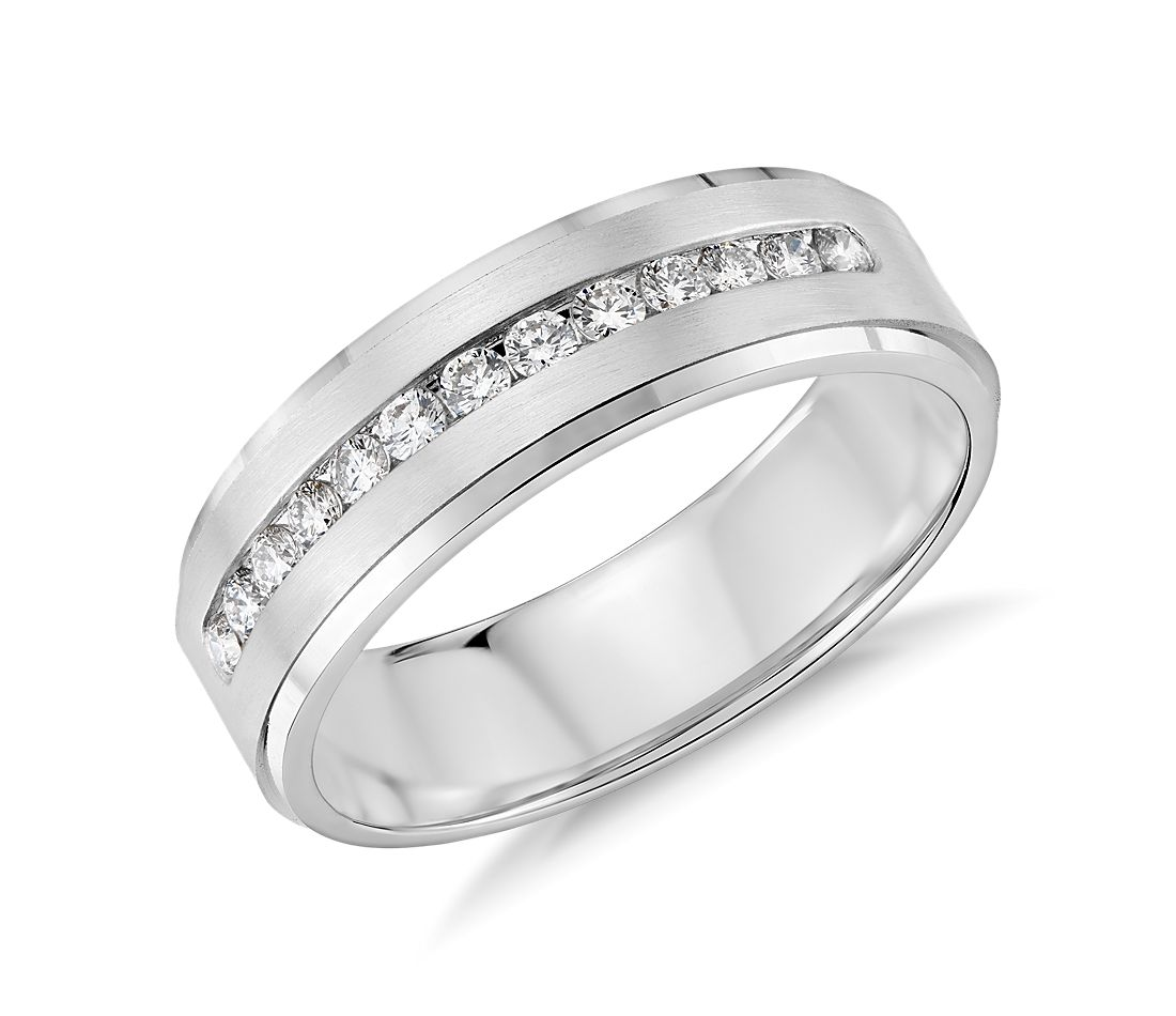 diamond channel set wedding ring in platinum 13 ct tw - Wedding Ring For Men