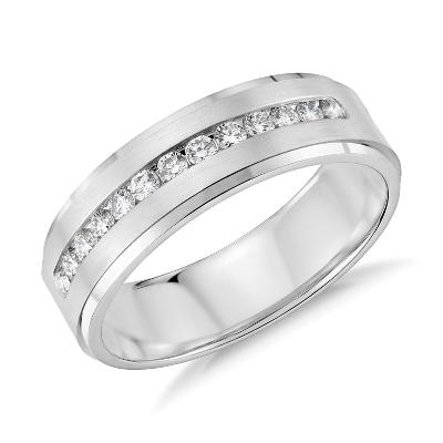 Diamond Channel Set Wedding Ring in 14k White Gold 13 ct tw