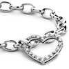 Diamond Heart Charm Bracelet in 18k White Gold (1/4 ct. tw.)