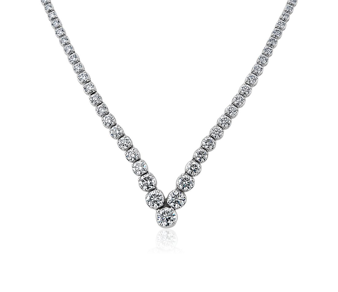 Diamond Chevron Eternity Necklace in 14k White Gold (10 ct. tw.)