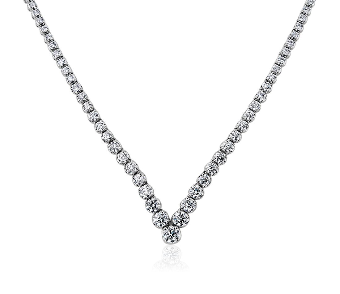 Diamond Chevron Eternity Necklace in 14k White Gold (7 ct. tw.)