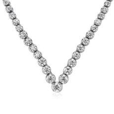 新款 14k 白金钻石人字纹永恒项链(15 克拉总重量)