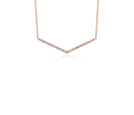 Mini Chevron Diamond Bar Necklace in 14k Rose Gold