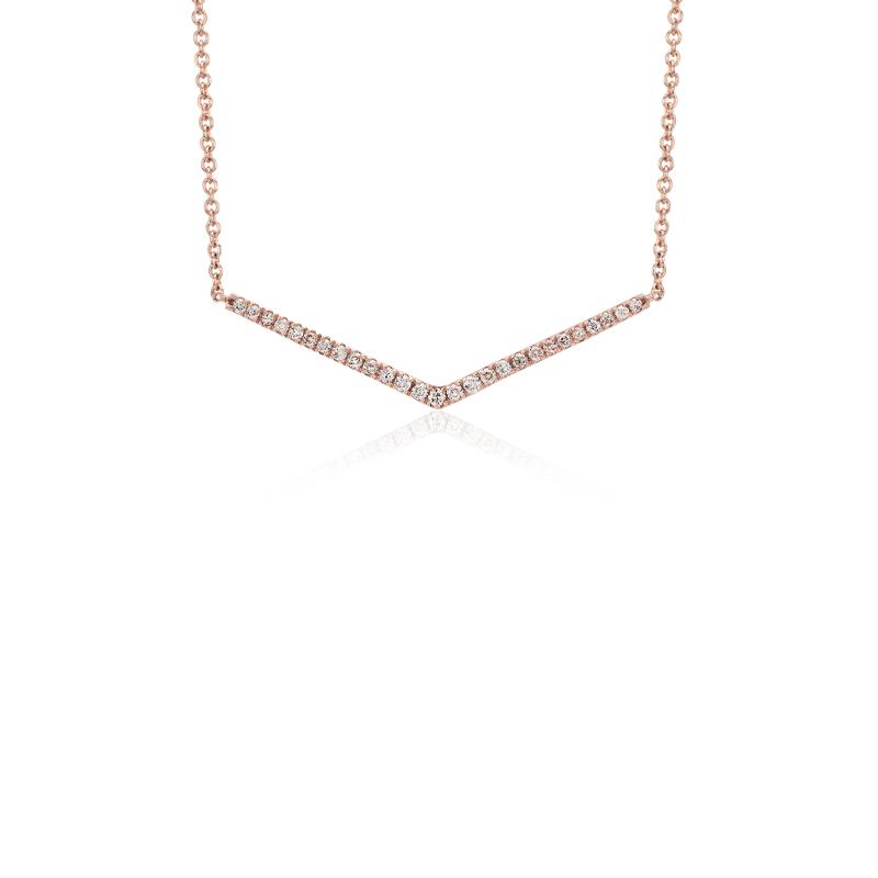Mini Chevron Diamond Bar Necklace in 14k Rose Gold