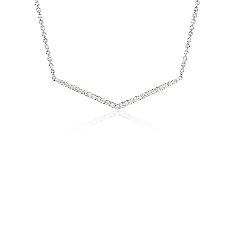 Mini Chevron Diamond Bar Necklace in 14k White Gold