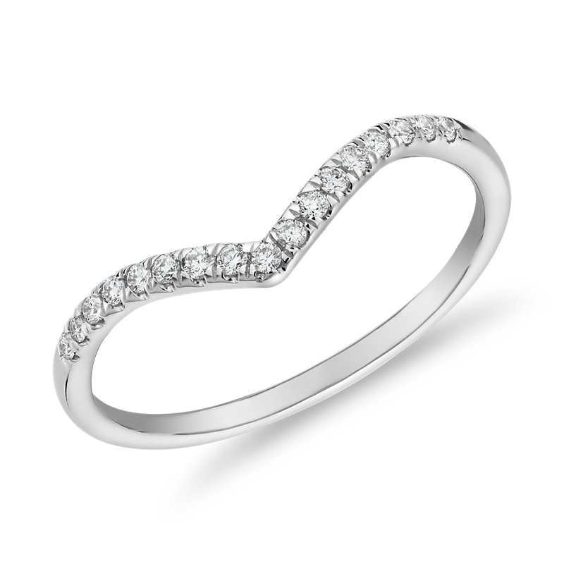 Diamond Chevron Stackable Fashion Ring in 14k White Gold (1/10 ct