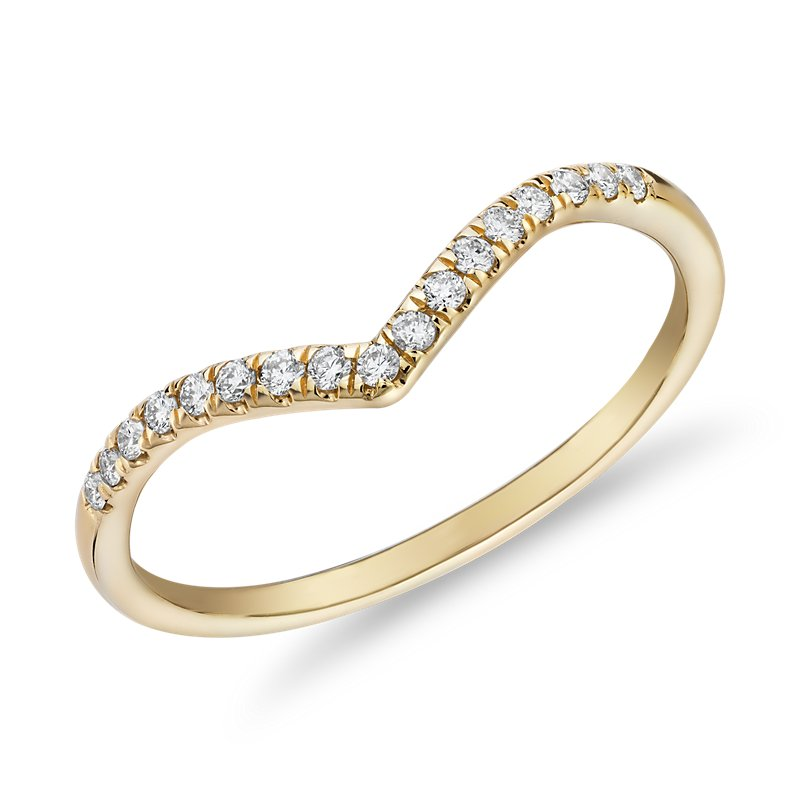 Diamond Chevron Stackable Fashion Ring in 14k Yellow Gold (1/10 c