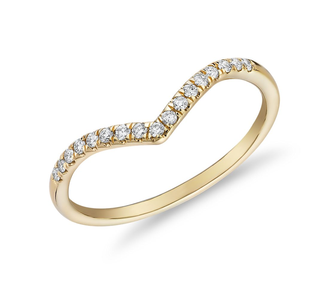 Diamond Chevron Stackable Fashion Ring in 14k Yellow Gold