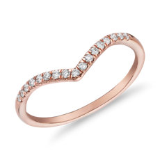 Bague mode superposable chevron avec diamants en or rose 14 carats (1/10 carat, poids total)