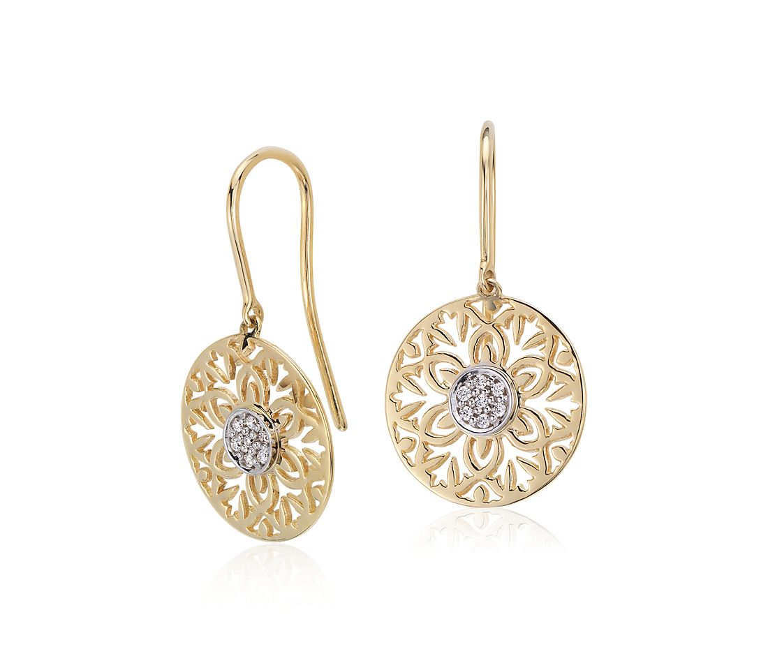 Laser Cut Diamond Earrings in 14k Yellow Gold