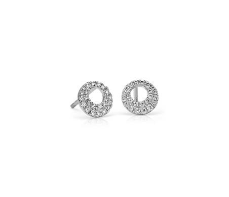 Blue Nile Diamond Bow Earrings in 14k White Gold (1/4 ct. tw.) EwZVM