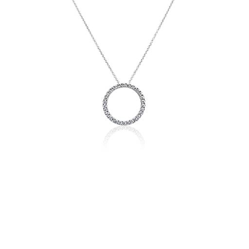 Diamond necklaces pendants and chains blue nile pendant diamond circle necklace in 14k white gold 34 ct tw aloadofball Images