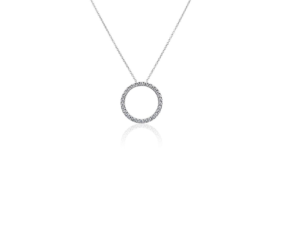 Collier en diamants cercle en or blanc 14 carats (3/4 carat, poids total)