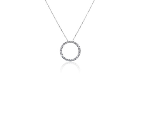 Diamond circle necklace in 14k white gold 34 ct tw blue nile diamond circle necklace in 14k white gold 34 ct tw mozeypictures Image collections