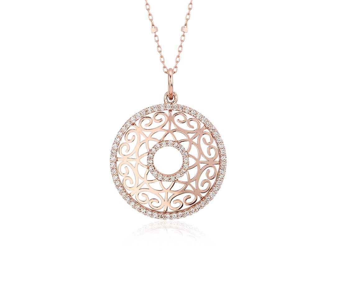 Laser Cut Gold Platinum: Laser Cut Diamond Circle Pendant In 14k Rose Gold (2/5 Ct