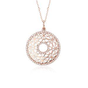 Laser Cut Diamond Circle Pendant in 14k Rose Gold (2/5 ct. tw.)