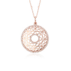NEW Laser Cut Diamond Circle Pendant in 14k Rose Gold (0.38 ct. tw.)
