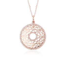 Laser Cut Diamond Circle Pendant in 14k Rose Gold (2/5 ct. tw.)