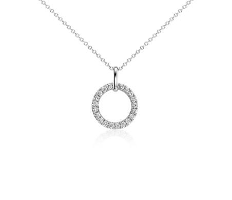 Blue Nile Mini Duet Circle Diamond Necklace in 14k White Gold Ew4tz0Fb