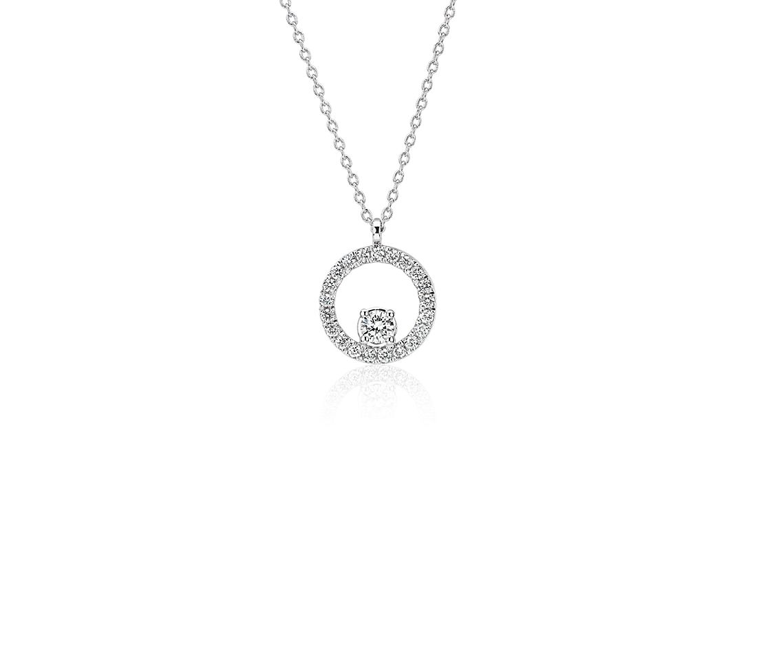 Diamond Circle with Diamond Accent Pendant in 14k White Gold (1/5 ct. tw.)