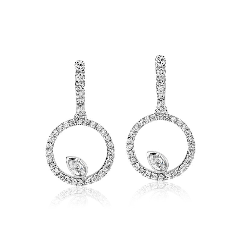 Diamond Circle with Pear Accent Drop Earrings in 14k White Gold  (5/8 ct. tw.)