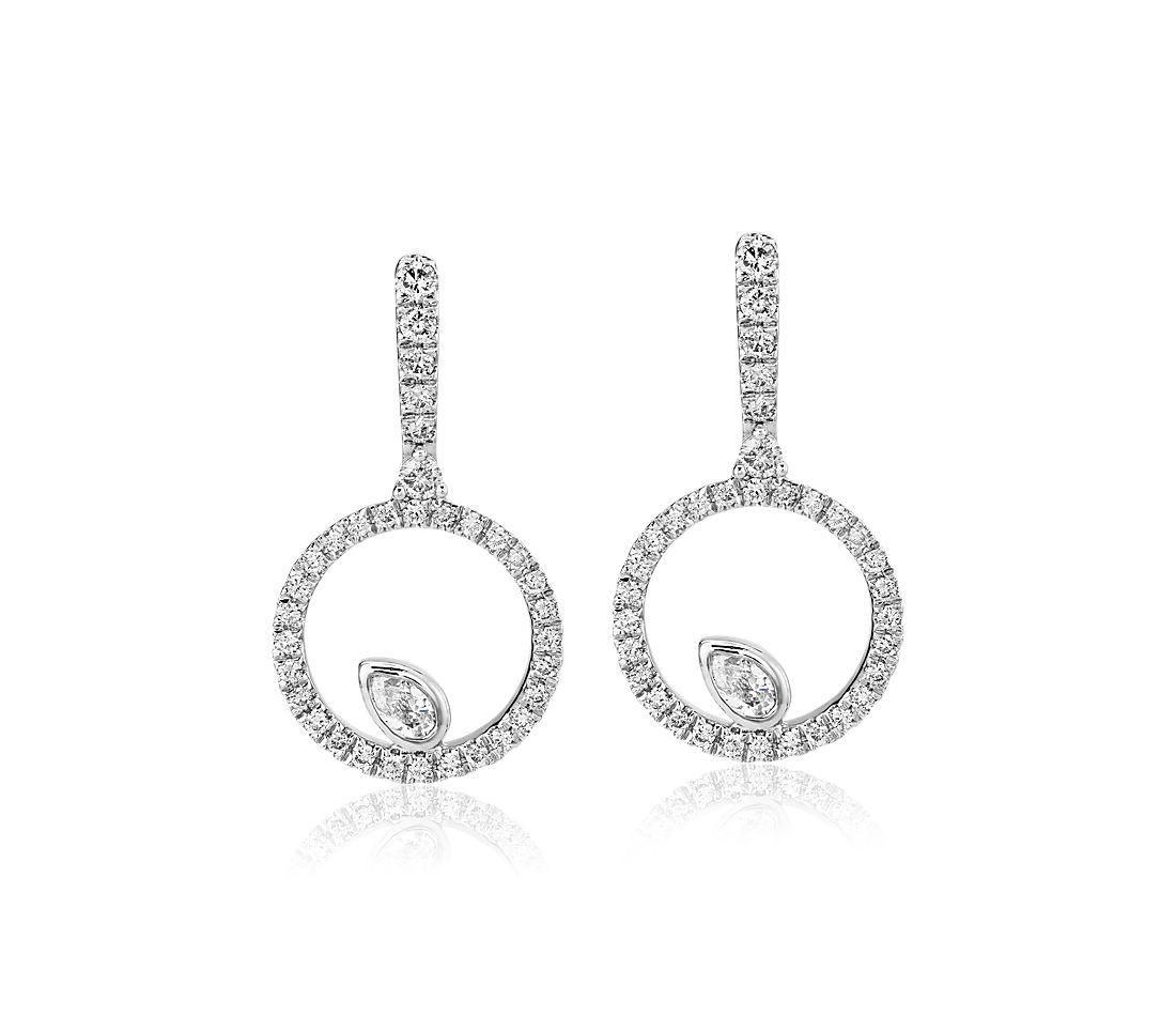 Diamond Circle with Pear Accent Drop Earrings in 14k White Gold