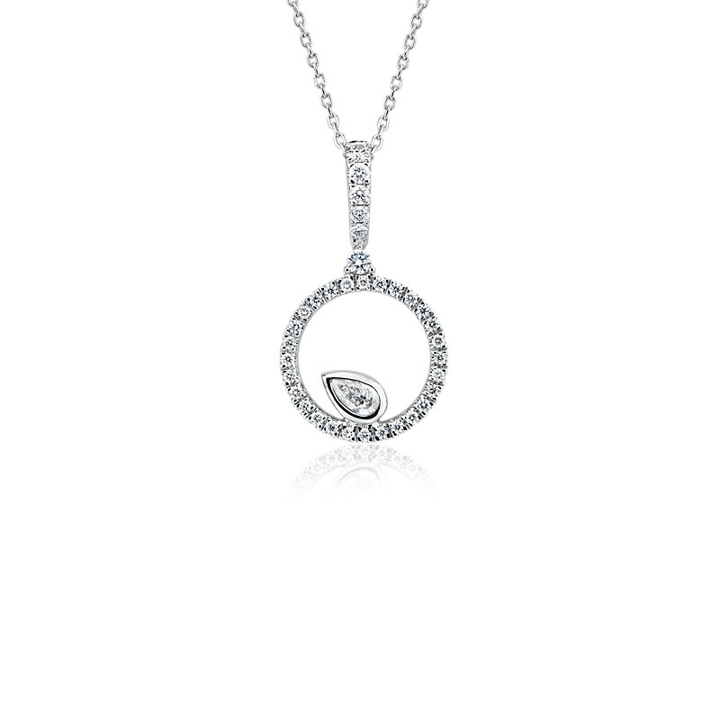 Diamond Circle with Pear Accent Pendant in 14k White Gold  (1/3 c