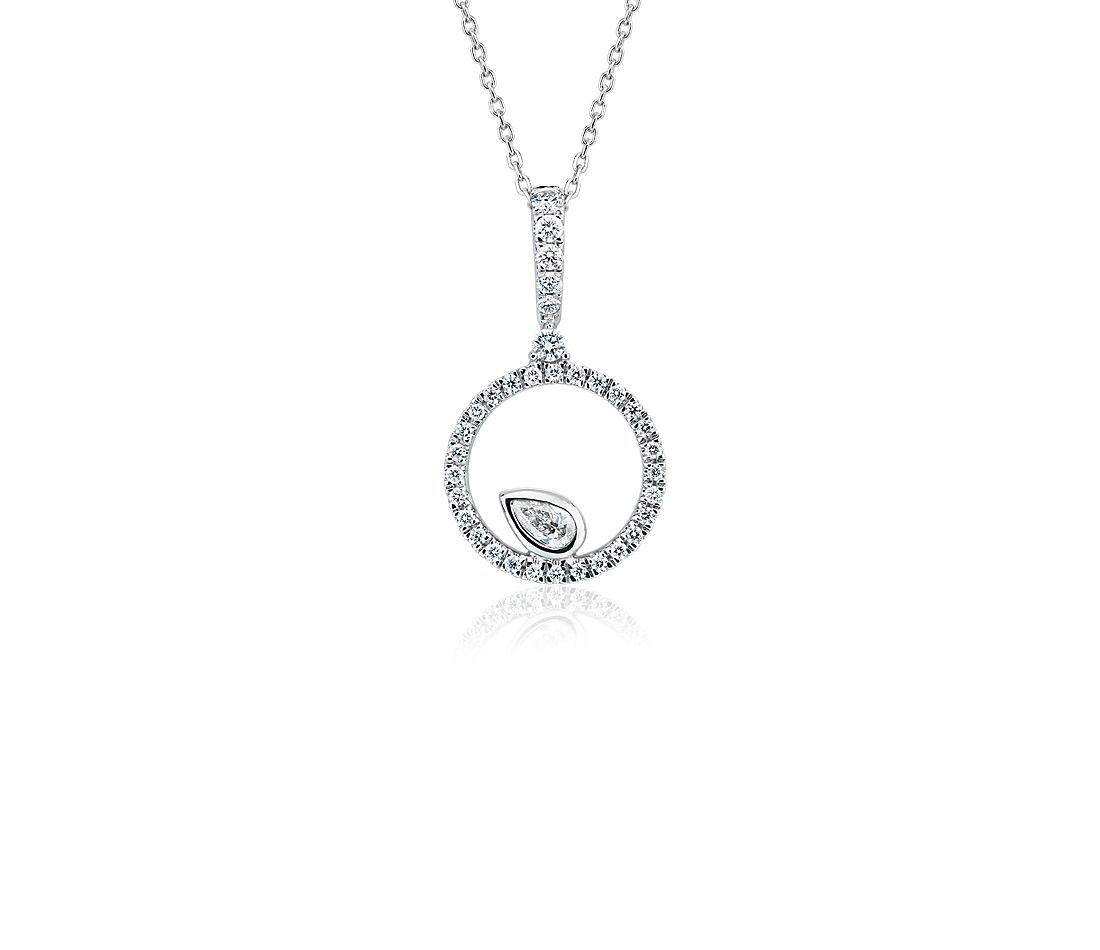 Diamond Circle with Pear Accent Pendant in 14k White Gold