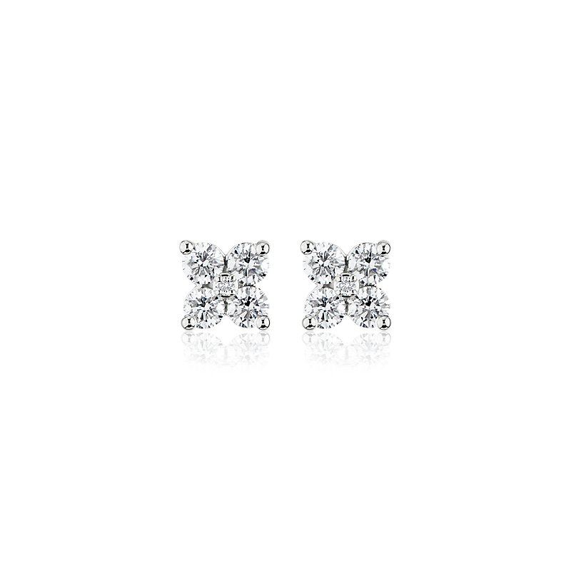 Diamond Clover Earrings in 14k White Gold (1 ct. tw.)