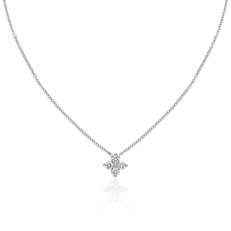 Diamond Clover Necklace in 14k White Gold (1/3 ct. tw.)