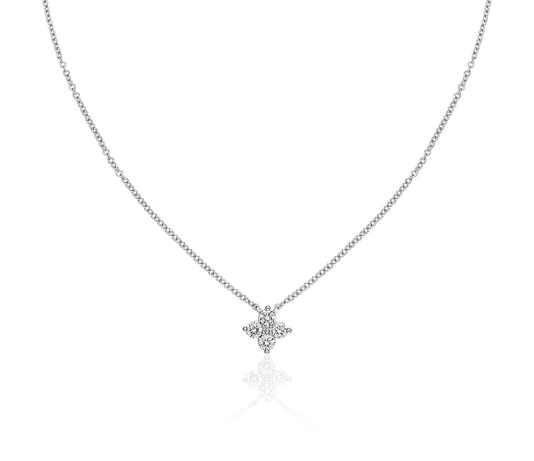 Diamond Clover Necklace in 14k White Gold (0.33 ct. tw.)