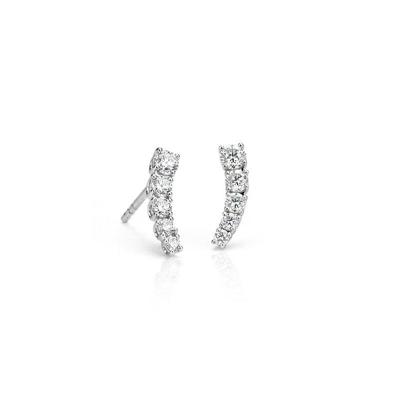 Diamond Crawler Stud Earrings in 14k White Gold (1/2 ct. tw.)