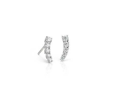 Diamond Crawler Stud Earrings in 14k White Gold