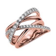 NEW Diamond Crisscross Fashion Ring in 14k Rose Gold (1 ct. tw.)