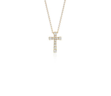 Petite Diamond Cross Pendant in 14k Yellow Gold
